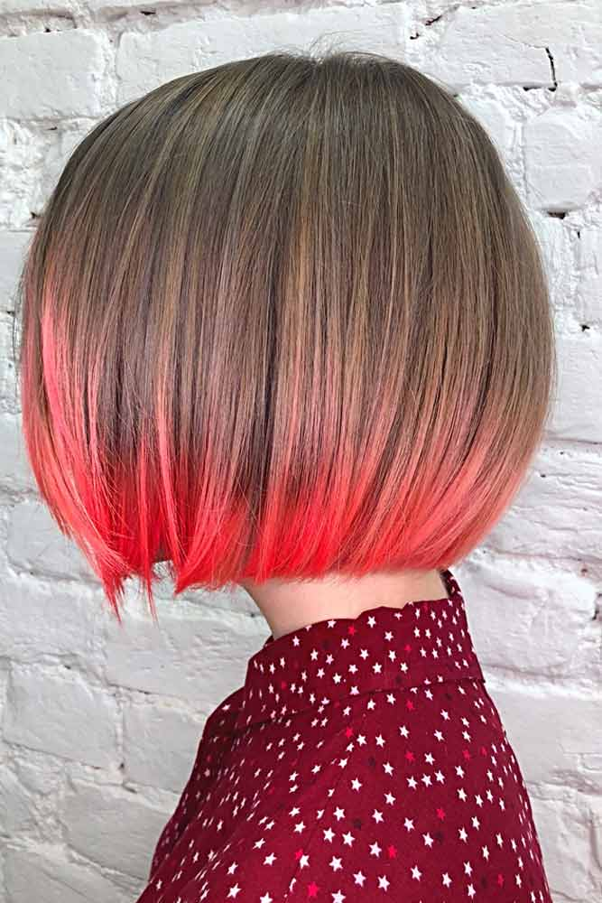 Brown Bob With Neon Ombre
