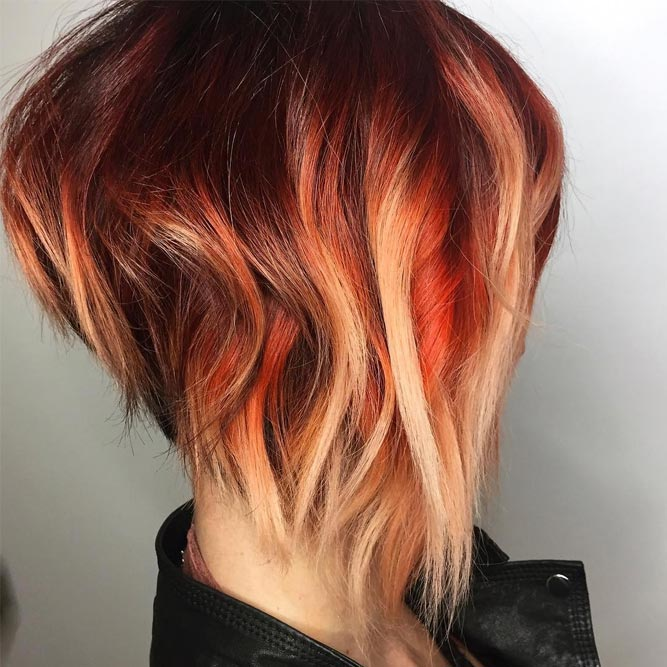 Copper and Blonde Balayage on Stacked Bob