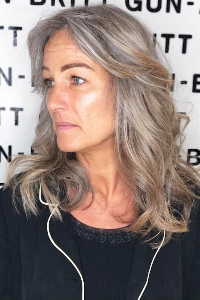 Long Grey Layered Cut #hairstylesforwomenover50