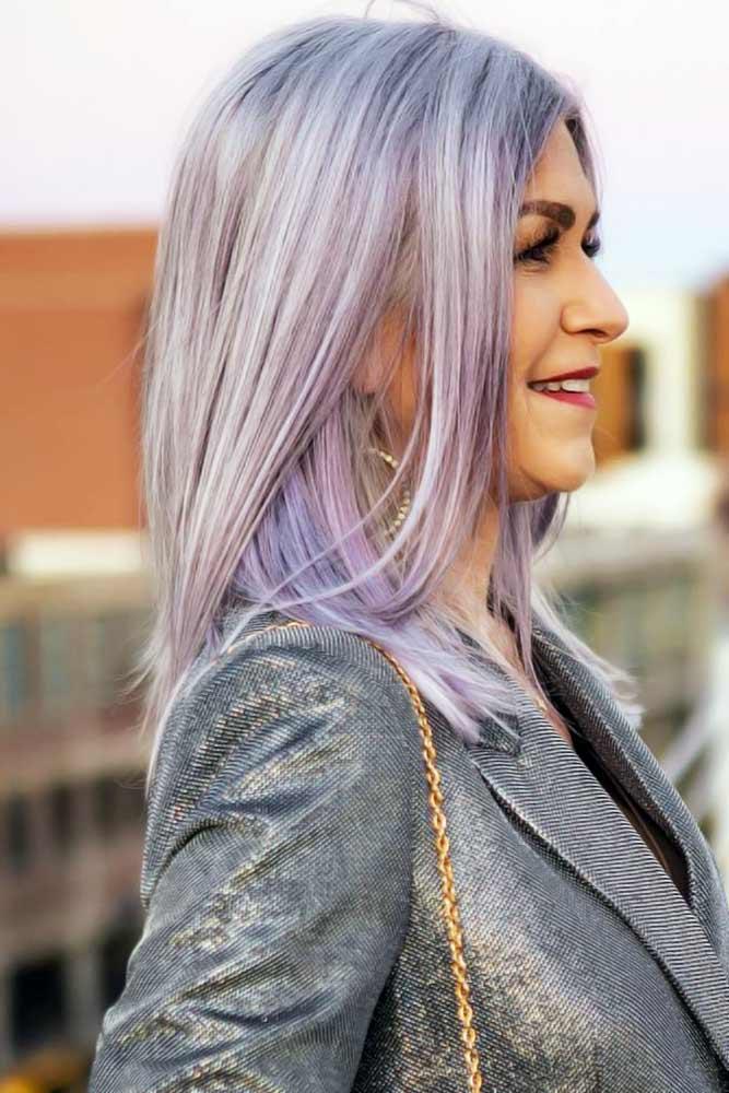 Lavender Sleek Lob #hairstylesforwomenover50