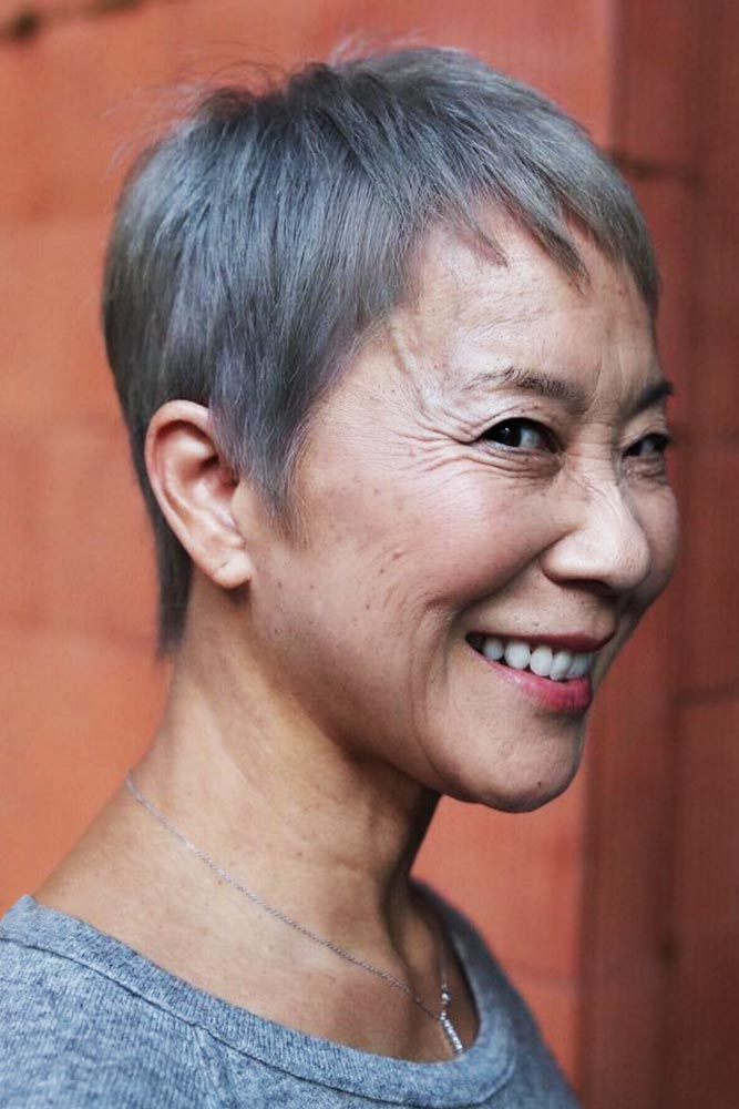 Short Gray-Haired Pixie #pixie #shorthair