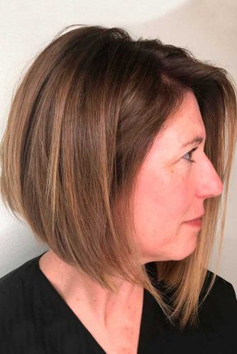 Sleek Inverted Bob With Natural Highlights