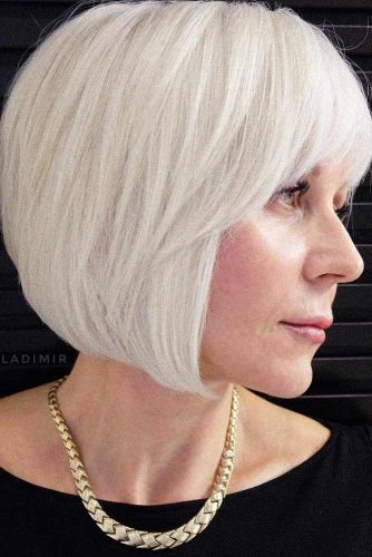 Straight Platinum Blonde Bob