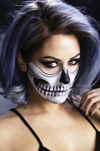Half Face Charming Halloween Skulls With Different Bobs #halloweenhairstyles #shorthair #hairstyles #bobhairstyles #skullmakeup