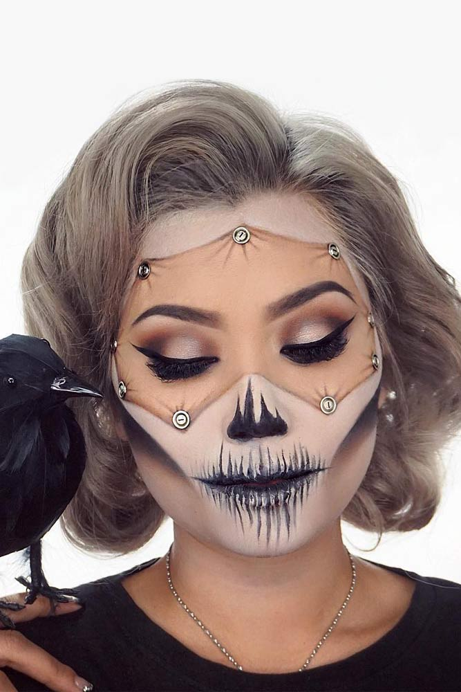 Pinned Skin Charming Halloween Skulls With Different Bobs #halloweenhairstyles #shorthair #hairstyles #bobhairstyles #skullmakeup