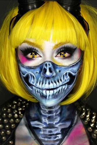 Radioactive Charming Halloween Skulls With Different Bobs #halloweenhairstyles #shorthair #hairstyles #bobhairstyles #skullmakeup