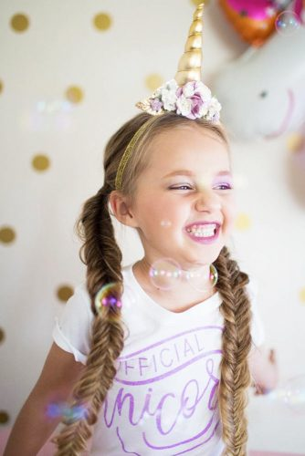 Unicorn Hairstyles Double Braids #haloweenhairstyles #braids