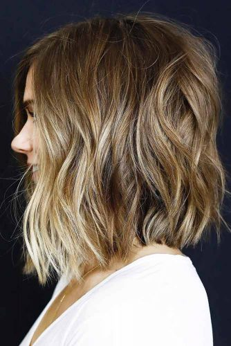 Cool Wavy Inverted Bob Haircut #shorthaircuts #lightbrownhair #wavyhair