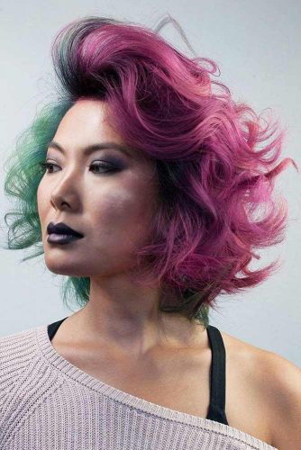 Cool Wavy Colored Voluminous Bob #shorthaircuts #bobhaircut #pinkhair #curlybob
