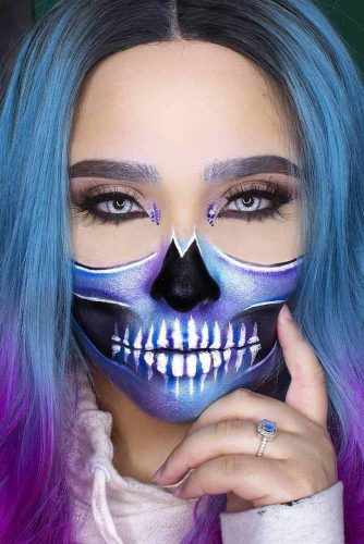 From Blue To Purple Ombre For Galaxy Skull #ombrehair #halloween #hairstyles #halloweenmakeup #galaxyskull