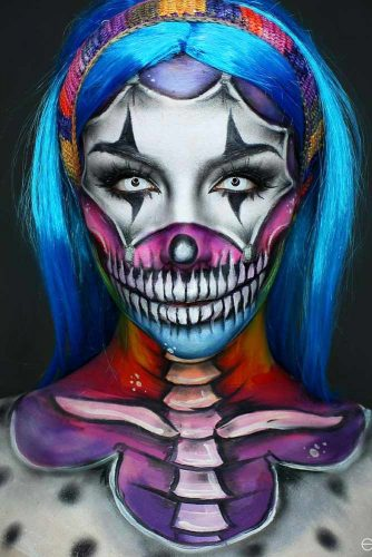 Rainbow Clown Skull With Blue Ombre #ombrehair #halloween #hairstyles #halloweenmakeup #clownskull