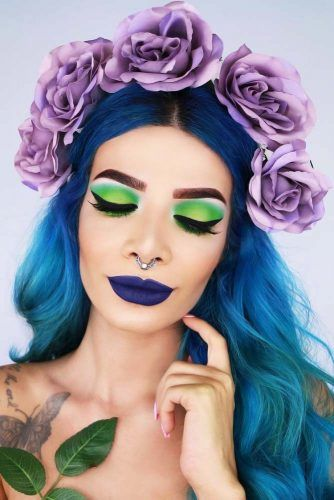 Halloween Ombre Looks With Flowers Blue #ombre #ombrehair #halloweenhair