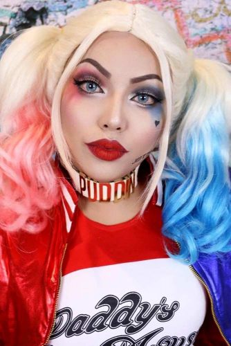 Colored Ombre For Harley Quinn #ombrehair #halloween #hairstyles #halloweenmakeup #harleyquinn