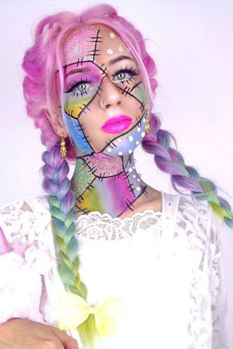 Doll Halloween Makeup And Rainbow Hair #ombrehair #halloween #hairstyles #halloweenmakeup #rainbowhair