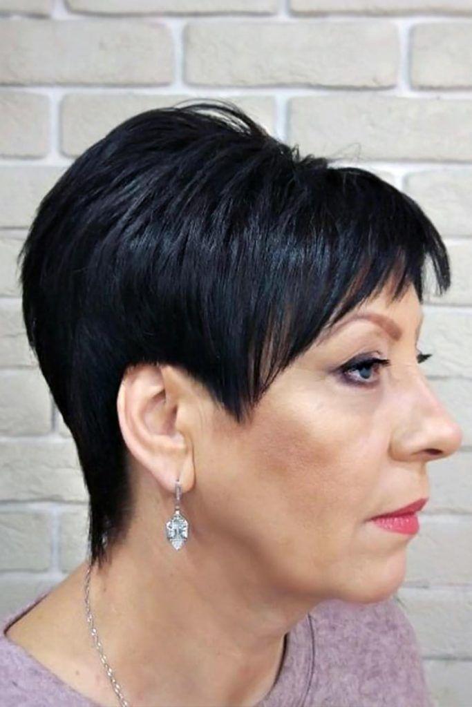 Long Pixie Cuts Brunette #shorthaircuts #haircutsforolderwomen