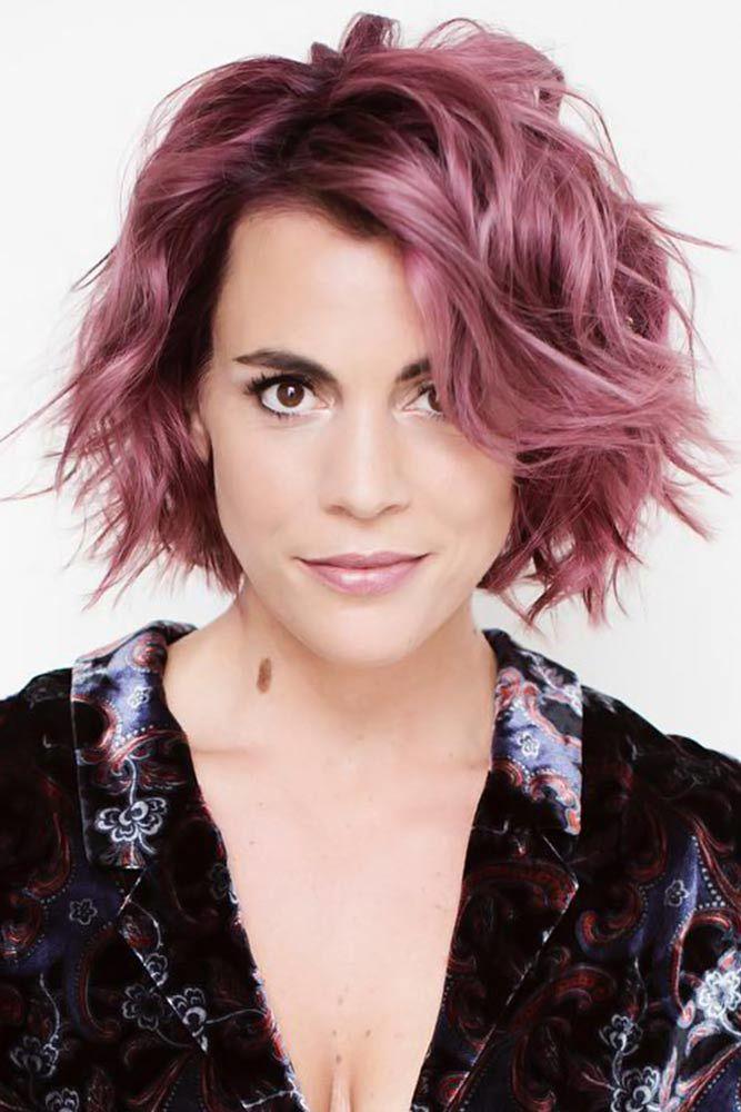 Messy Bob Haircuts Pink #shorthaircuts #haircutsforolderwomen