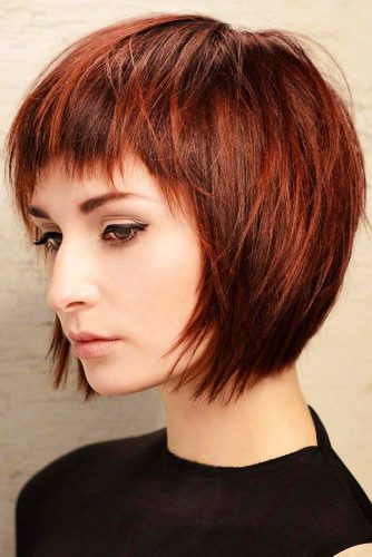 Auburn Tousled Short Stacked Bob With Bangs #bnags #bob #layeredhair