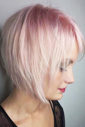 Razor Cut Pastel Pink And Blonde Choppy Bob #bangs #bob