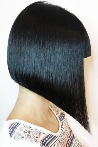 Sleek and Straight Medium Angled Bob with Bangs #mediumhair #bob #bangs