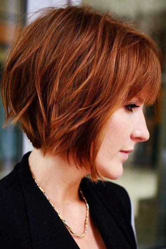 Auburn Short Stacked Bob With Bangs #bangs #bob #shorhair