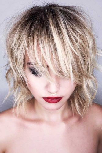 Messy Wavy Bob with A Soft Wispy Fringe #bangs #bob