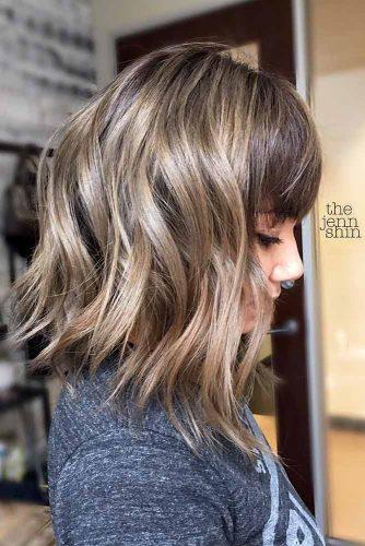 Wavy Angled Lob With Bangs #longbob #bobhaircut #haircuts #bangs #angledbob