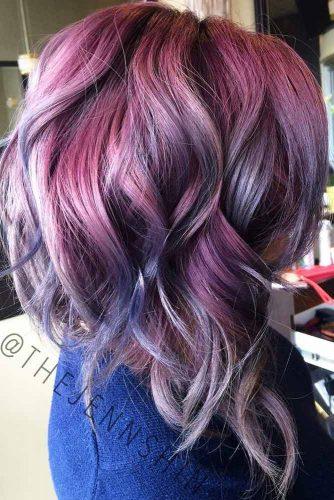 Violet Angled Lob With Bangs #longbob #bobhaircut #haircuts #bangs #angledbob