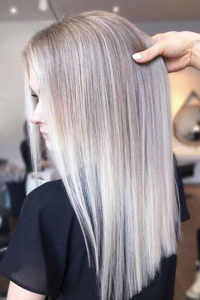 Ash Blonde Balayage For Straight Hair #straighthair #prettyhairstyle