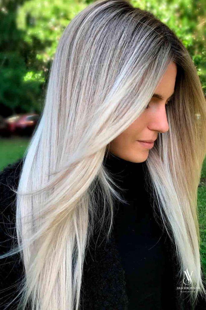 Dark Hair With Platinum Blonde Balayage For Straight Hair #ilovemyhair #beautifulhair