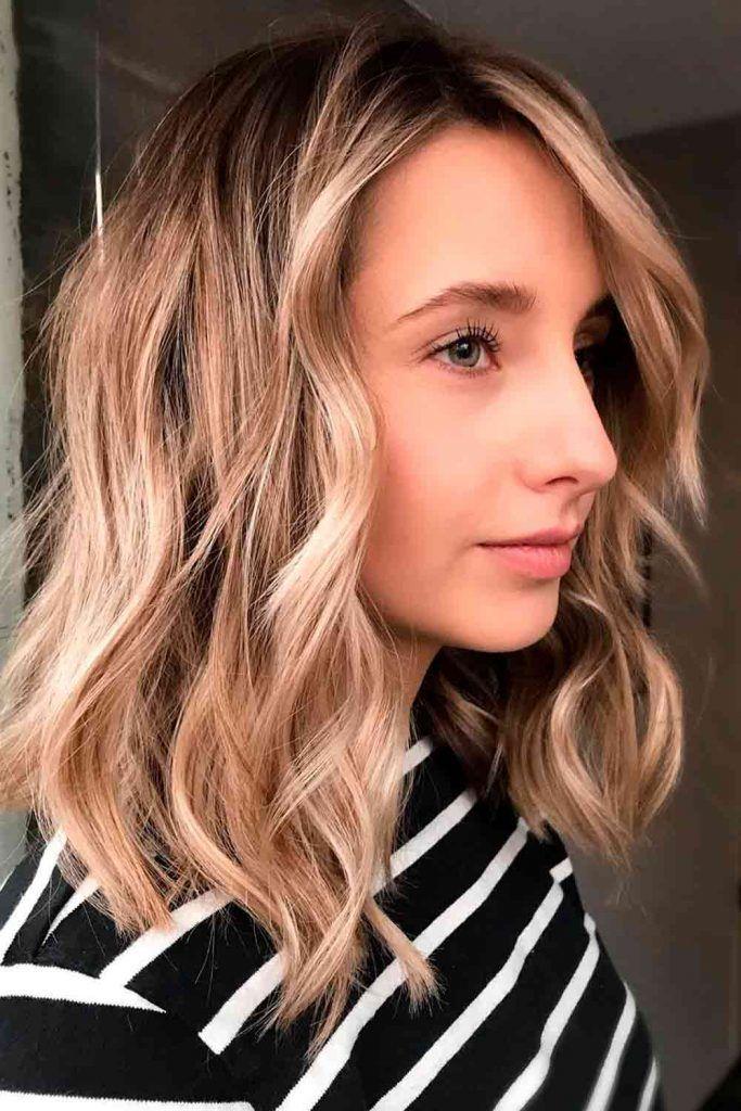 Natural-Looking Balayage For Medium Length Hair #honeyhairshade #blondeshades
