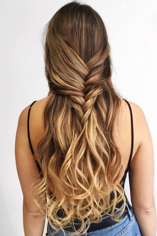 Half Up Half Down Braided Hairstyles For Long Hair Brown #braids #longhair