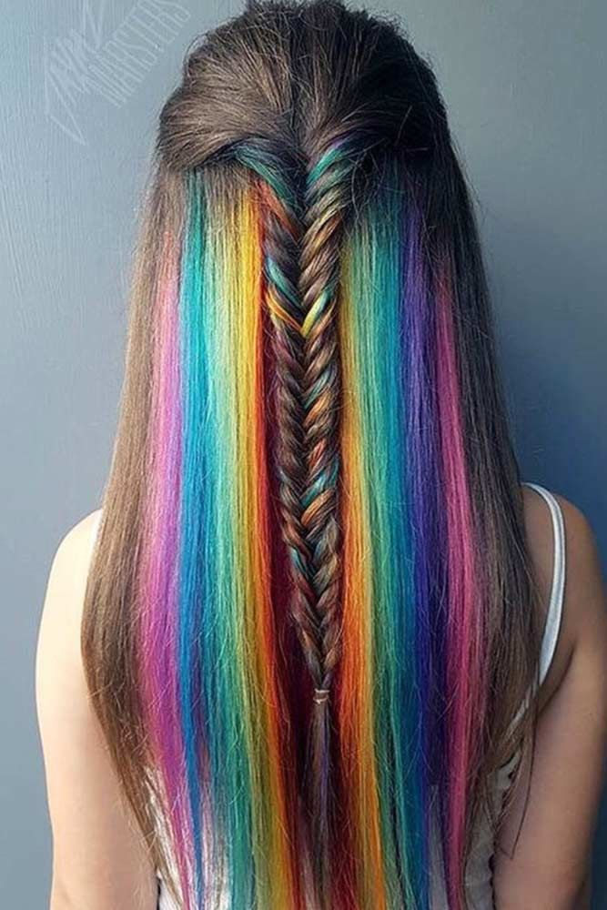 Half Up Half Down Braided Hairstyles For Long Hair Rainbow