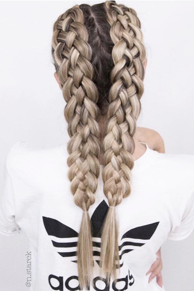 Double Braided Hairstyles For Long Hair