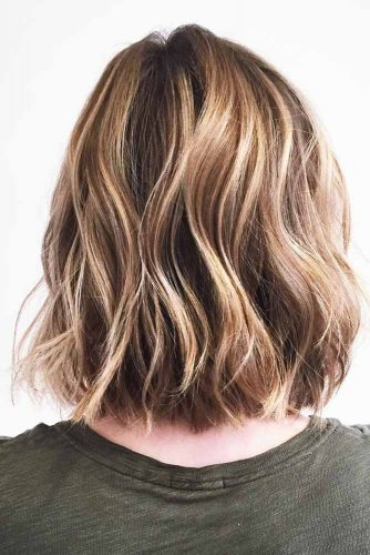 Brown Hair Bob with Golden Locks