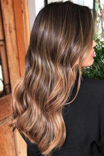 Dark Brown Hair With Honey Caramel Highlights #brownhair #highlights