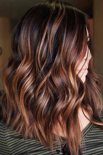 Dark Brown Hair Color With Red Copper Locks #brownhair #redhair #brunete