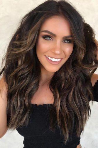 Dark Brown With Caramel Highlights Wavy #brownhair