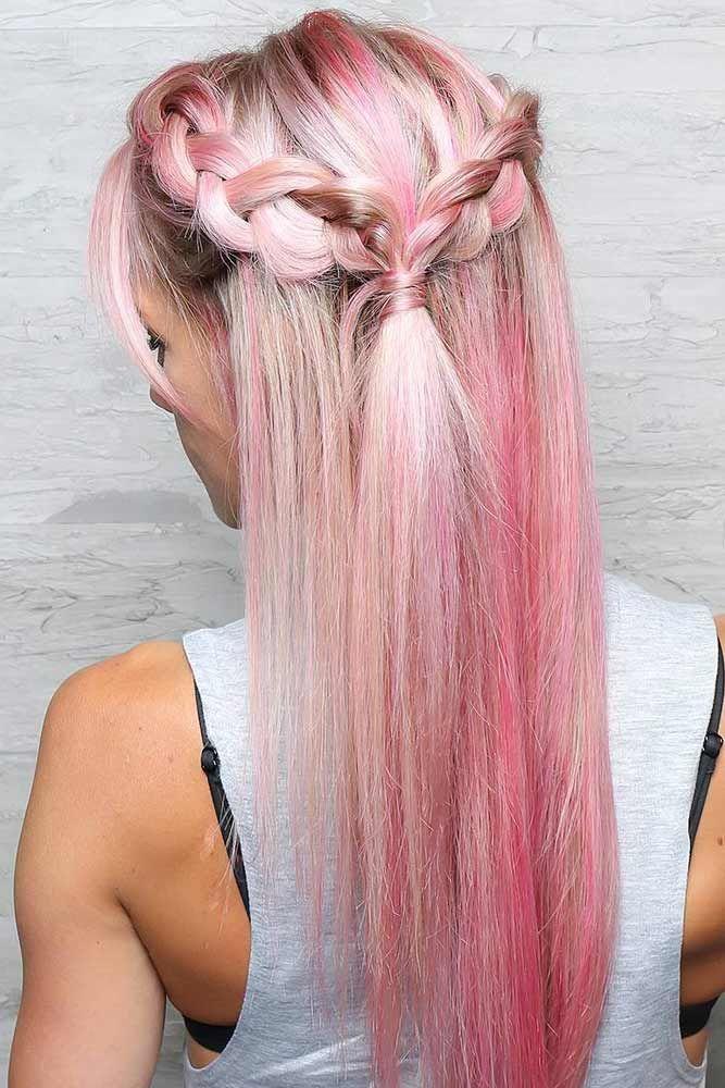 Braids Into Ponytails Half Styles Pink #halfponytail #halfuphalfdown