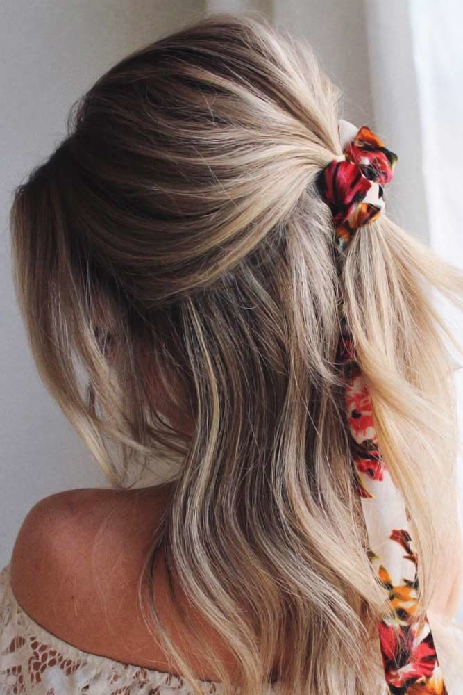 Ponytail With Hair Ties Balayage #halfponytail #halfuphalfdown