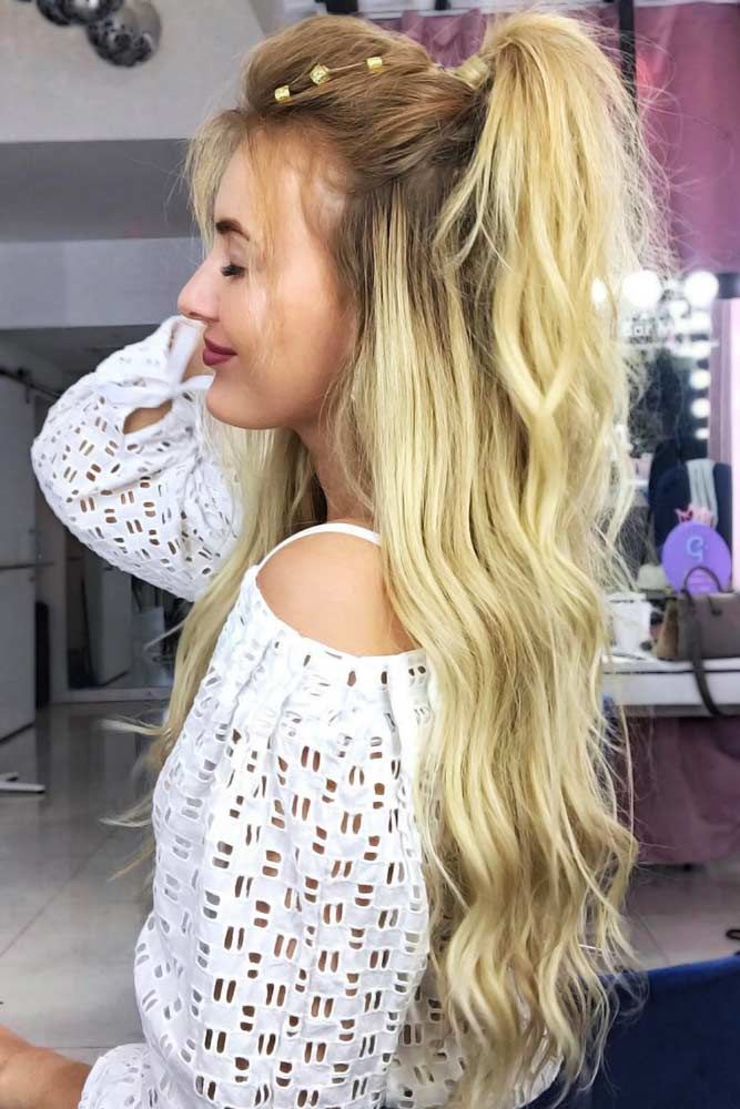Long Wavy Half Ponytails Ombre #halfponytail #halfuphalfdown