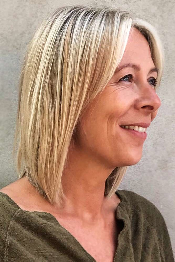Bob With Layered Thin Bang Hairstyles For Women Over 40 #hairstylesforwomenover40 #olderwomenhairstyles