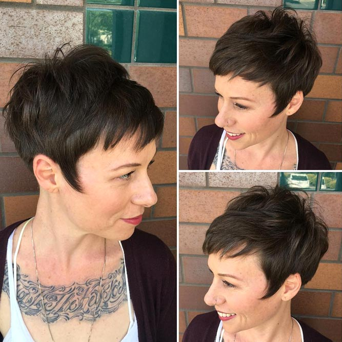 Dark Brown Pixie Hairstyles For Women Over 40