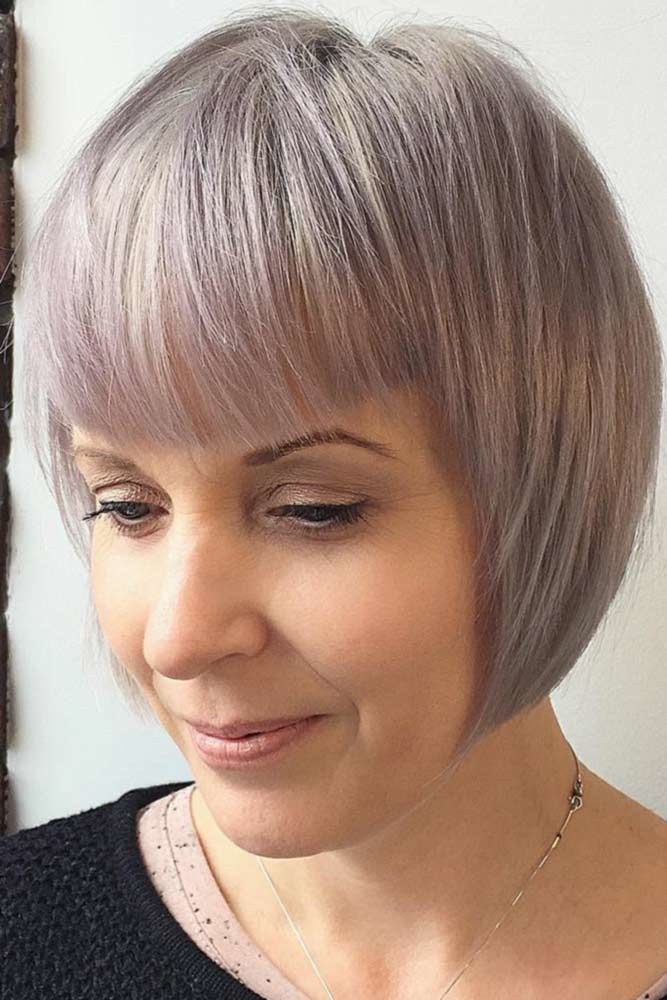 Grey And Lavender Balayage #hairstylesforwomenover40 #olderwomenhairstyles