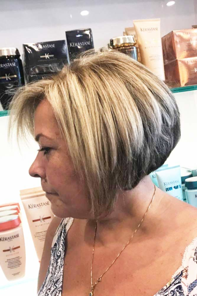 Classic Bob With Balayage Hair #hairstylesforwomenover40 #olderwomenhairstyles
