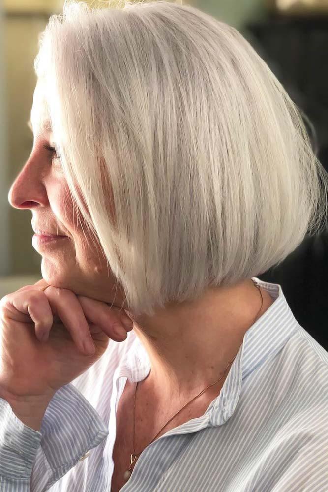 Side Styling Platinum Blonde Bob #hairstylesforwomenover50 #hairstylesforwomenover60