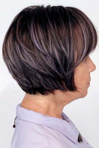 Purple Lights Bob #hairstylesforwomenover50 #hairstylesforwomenover60