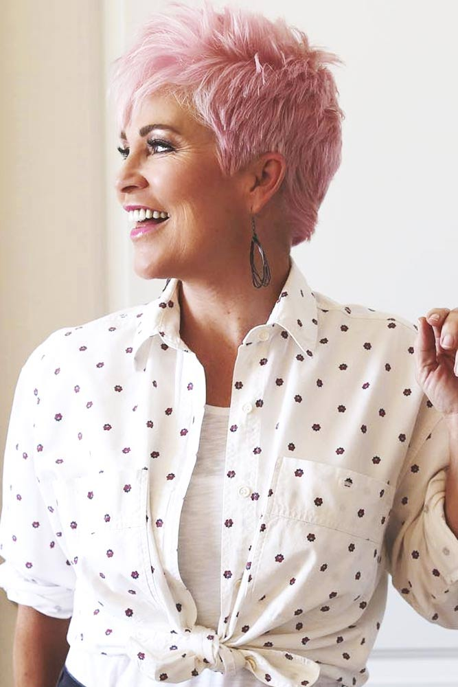 Chic Pink Pixie #haircuts #hairstylesforwomenover60
