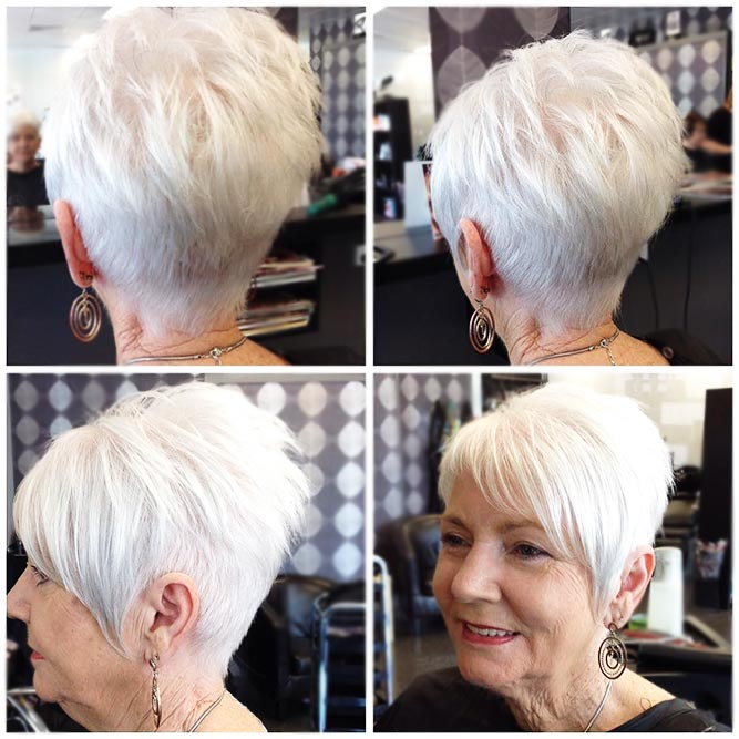 Silver Pixie Cut With Asymmetrical Bang #layeredhair #pixie