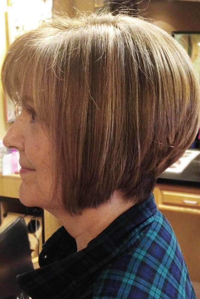 Full And Sleek Stacked Bob #bangs #bob