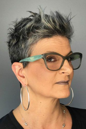 Grey Punky Spiky Pixie #haircuts #hairstylesforwomenover60
